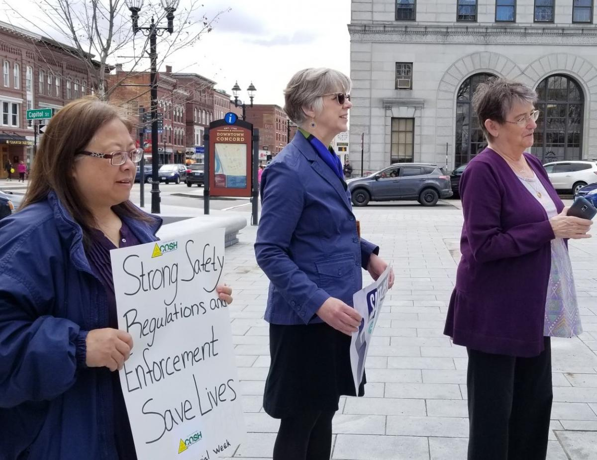 New Hampshire COSH vigil at State House in Concord, April 26th